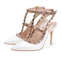 женские сандалии на высоких каблуках свадебные туфли лакированная кожа заклепки сандалии женские шипованные босоножки туфли v туфли на высоком каблуке + логотип + коробка