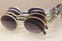 4 renk tam çerçeve Meatus daire yüksek kaliteli Saf doğal siyah manda bacak 7550178 gözlüğü Retro moda güneş gözlüğü boyutunu güneş gözlüğü 57