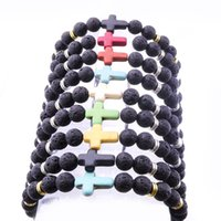 nuovo Diffusore di Profumo di Olio Essenziale 8mm Black Lava cross Stone Beads Bracelet Stretch Yoga Jewelry
