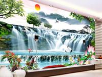 Personalizzato 3 d carta da parati HD cascata soggiorno muro murales TV divano TV sfondo carta da parati 3d stereoscopico