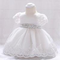 Meninas do bebê vestido de festa crianças lace branco bordado tutu de manga curta vestidos de bebê lantejoulas arcos vestido de princesa meninas vestido de aniversário A01537