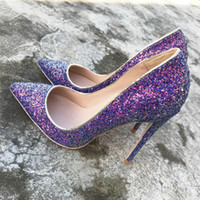 Европа и Америка 2018 новый фиолетовый блестками туфли на высоком каблуке 12 см супер тонкой железной обуви, свадебные туфли, невесты обувь 10 см Сексуальный ночной клуб