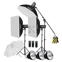3x Godox Iluminación continua SL-200W CRI93 + 16 canales 5600K 200W LED Kit de luz de video + 120cm Octa Softbox + 2.8m Stand + Boom Arm