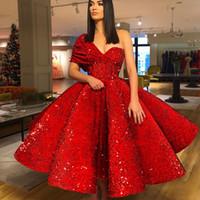 Brillante un hombro vestido de fiesta de lujo de lujo con lentejuelas de manga corta vestido de fiesta de celebridad sexy tobillo longitud formal vestido de bolita vestidos de noche