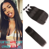 8A Peruvian Virgin Hair Straight 3 Bundles With Closure Natu...