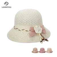 Good Quality Summer Women Knitted Bucket Hats Hollow Breatha...