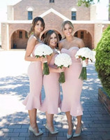 2018 Light Pink Tea Length Short Mermaid Bridesmaid Dresses ...