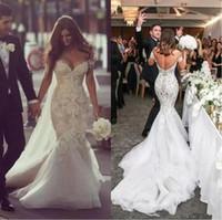 Стивен Халил 2019 Дубай арабские свадьбы свадебные платья с плечами поезда из бисера жемчуга с бедным кружевами свадебные платья русалка свадебное платье