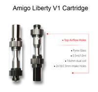 Originl Amigo Liberdade V1 Cartucho 0.5ml 1.0ml Pirex De Vidro Dupla Bobina Atomizers 420 Cartuchos Vape 1.8mm 2.3mm Buracos De Óleo