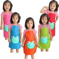 Дети дети водонепроницаемый милый лягушка печати фартук краска съесть напиток верхняя одежда девочка мальчик необыкновенный высокое качество прекрасный