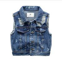 Мальчик джинсовый жилет, весна осень, сломанный стиль отверстия, дети мальчик жилет, детский мальчик одежда, детская джинсовая куртка, для 2-7T верхняя одежда