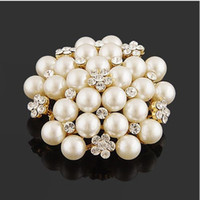 Vintage Silver Tone Faux Pearl&Crystal Flower Pin Brooch Wed...
