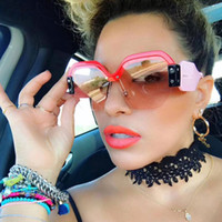 Sexy Rimless Oversized Sunglasses Women Vintage 2019 Red Pin...