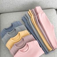 Niñas Espesados casa Ropa caliente con la franela de los pijamas del bebé sistemas de la ropa camisa pantalones Niños Ropa informal 6M-3T