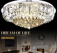 Moderne LED Luxus K9 Kristall große Deckenleuchte E14 Beleuchtung minimalistischen runden Wohnzimmer Halle Kronleuchter mit LED-Lampen LLFA