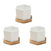 Küçük Beyaz Seramik Altıgen Etli Kaplar 3 Takım Bitki Pot Kaktüs Dikim Pot Bambu Tepsi ile