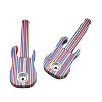 Guitarra creativa Hecho a mano de madera de arco iris Tubo para fumar 112 mm con metal Fumar Tazón Tubo de madera Tabaco Tubo Tamaño