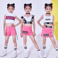Nuevos Hip Hop Kids Jazz Pink Cheerleading Trajes de Danza Etapa Outfit  Girls Child Jazz Street 977a0569db3