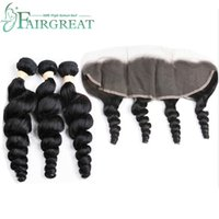 Brazilian Peruvian Loose Wave Bundles With 13*4 Lace Frontal...