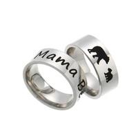 Acero inoxidable Mama Oso Anillo Esmalte Cachorros de la madre y del anillo de la venda letra de los niños animal lindo suena la joyería de moda para mamá cumpleaños