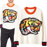 White tide brand tiger sweater for men fashion long sleeve s...