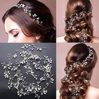 Düğün Gelin Kristal Fascinators Uzun Saç Zincir Takı Rhinestone Taç Prenses Kraliçe Headdress Balo Altın Gümüş Saç Bandı Aksesuarları