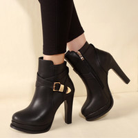 11cm fashion black PU leather buckle platform thick high hee...