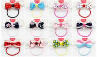 New Kids Elastic Hair Bands Colorful Cartoon polka dot Bow P...