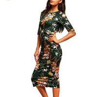 Spring Summer Office Lady Style Women Dress Floral Half Slee...
