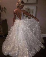 Weiße Sparkle Pailletten Abendkleider Tiefem V-Ausschnitt Sexy Low Back Lange Abendkleid Günstige Pageant Kleider Besondere Anlässe tragen