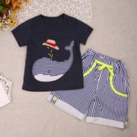Estate bambini abbigliamento set di ragazzi di cotone vestiti cartoon whale stampa t-shirt manica corta + abbigliamento a strisce pantaloni abbigliamento
