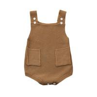 Yenidoğan Bebek Kız Katı Örme Toddler Cep Tulum Giysileri Romper Kıyafet D50