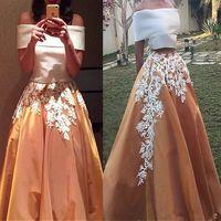 Robes de bal élégantes en satin deux pièces style Arabie Saoudite Deux pierres parti robes de bal de bal Une ligne de l'épaule appliques robe de soirée en dentelle