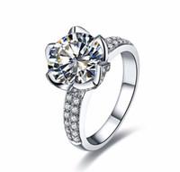Echte solide 925 Sterling Silber Eheringe für Frauen Romantische Blume geformt Inlay 3 Karat Diamant Verlobungsring