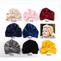 Ins Baby hat Infants Pleuche Bunny Bow knot hats Indian Caps...