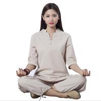 Novo Design de fitness roupa esporte ao ar livre exercício roupas de algodão de linho fatos de treino yoga jaqueta + calça meditação feminina Kungfu Tai Chi ternos