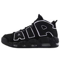 2018 New Top Air More Uptempo OG Stripe Black White Mens Bas...