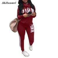 Pink Letter Print Tracksuits Women Two Piece Set 2018 Autumn...
