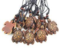 Мода мужчины Як кости порошок резной Солнце смайлик лягушка Серфер черепахи кулон очарование ожерелье деревянные бусины регулируемая веревка ожерелье
