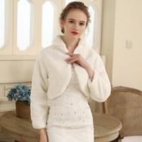 Heiße Verkäufe von 2019! Weiß / Elfenbein Langarm Kunstpelz Braut Wrap Bolero Stola Abend Winter Hochzeit Prom Mäntel Umhänge DH7236