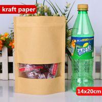 14x20cm Stand Kraft Paper Aluminium Laminating Riutilizzabile Confezionamento Alimentare Sacchetti di Cottura Snack Candy Tea Calore Sealing Zip Lock Pacchetto Pouch