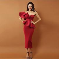 Superbe une épaule thé longueur bon marché Robes de bal sans manches Volants Plis formelle Soirée Pageant robes de soirée Party Vestido