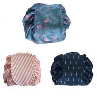 3 Stiller Flamingo İpli Kozmetik Çantası Büyük Kapasiteli Seyahat Taşınabilir Lazy Kozmetik Çanta Karikatür Kılıfı CCA8923 50pcs Makyaj