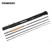 Probeos 2.7M 4 섹션 카본 플라이 낚시대와 부드러운 코크 손잡이 낚시 도구 낚시 도구 플라이 낚시 플라이 낚시 호수 오션 비명 낚시
