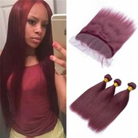 Color 99J Straight Hair Weave 3 Bundles with Lace Frontal Cl...