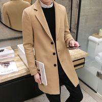 Cappotto di lana invernale Uomo Tempo libero Sezioni lunghe Sezioni di lana Cappotti di lana Colore puro maschile Casual Giacche di moda / Soprasci