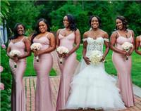 Maßgeschneiderte südafrikanische billige Brautjungfernkleider für Land Hochzeiten 2018 Hülle Spaghetti-Trägern bodenlangen Hochzeit Gastkleid
