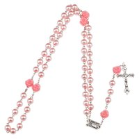4 Colors Pink Rose Rosary Madonna Jesus Cross Necklace Pendants Pearl necklace Fashion Jewelry Will and Sandy DROP SHIP 162671P