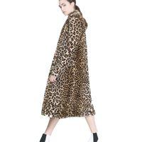 لونغ فو الفراء معطف المرأة ليوبارد وهمية معاطف الفراء منتصف فترة طويلة منفوش معطف سترات F0411 S-2XL