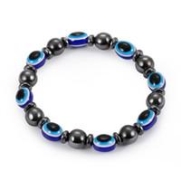 المغناطيسي الأسود حصاة مرنة سوار الأزياء الراتنج الأزرق عين الشر ستون أساور للنساء الخرز سلسلة مجوهرات هدايا KKA1695